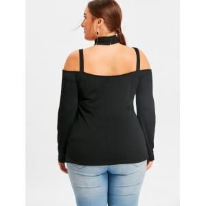 Plus Size Cut Out Long Sleeve Tee -