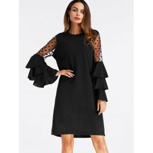 Bell Sleeve Mesh Insert Mini Shift Dress -