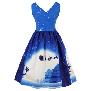 Vintage Christmas Print Pin Up Dress -