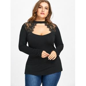 Plus Size Lace Trim Keyhole Top -