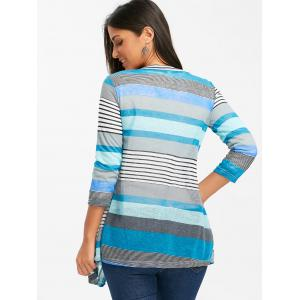 Color Block Striped Open Front Cardigan -