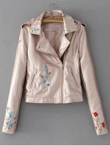 Discount Embroidered Zip Faux Leather Jacket