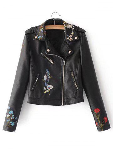 Online Embroidered Zip Faux Leather Jacket