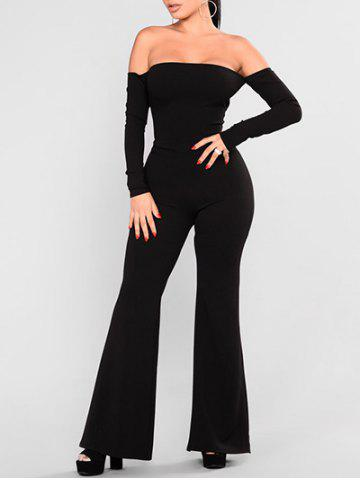 Fashion Off Shoulder Backless Lace-up Wide Leg Jumpsuit
