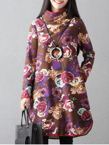 Cheap Flowers Print High Neck Dress