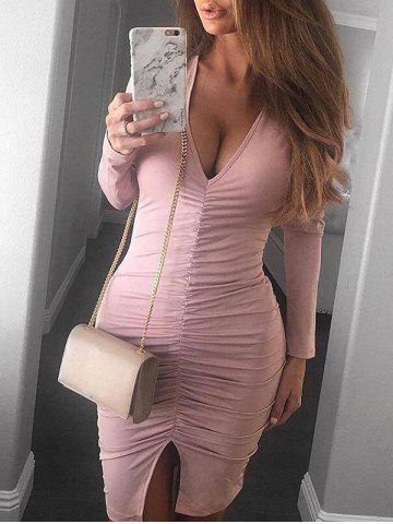 Latest Plunge Neck Ruched Slit Bodycon Dress