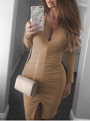 Best Plunge Neck Ruched Slit Bodycon Dress