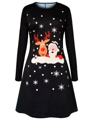 Best Christmas Cartoon Elk Santa Claus Printed Dress