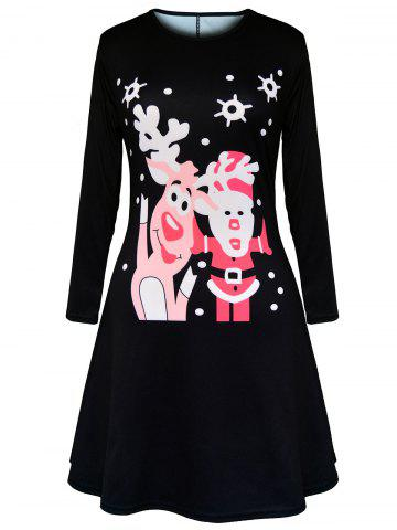 Hot Christmas Santa Claus Elk Polka Dot Print Dress