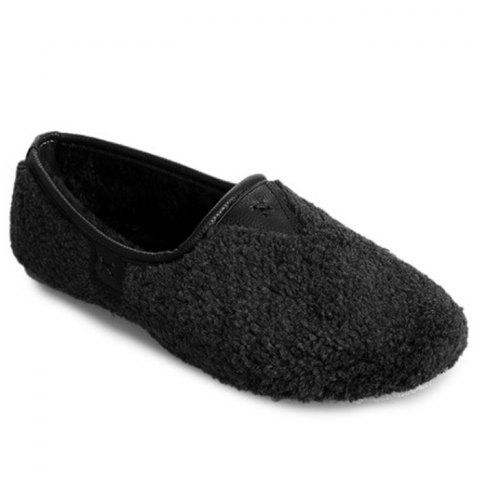 Online Slip On Round Toe Faux Fur Flat Shoes
