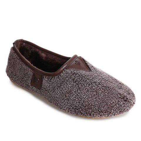 Chic Slip On Round Toe Faux Fur Flat Shoes
