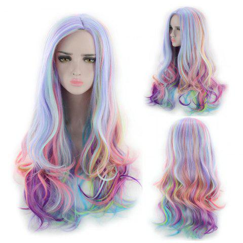 Chic Long Side Parting Colorful Layered Wavy Synthetic Cosplay Wig