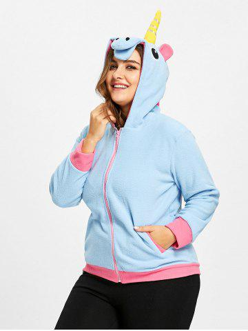 Unique Plus Size Fleece  Zip Up Unicorn Hoodie