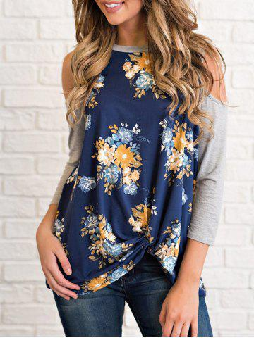 Best Cold Shoulder Floral Print T-shirt