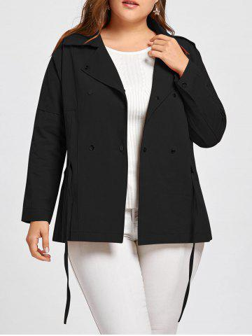 Shop Double Breasted Drawstring Plus Size Jacket