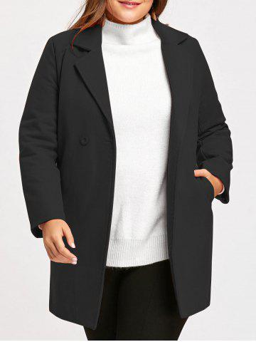 Affordable Plus Size Long Lapel Wool Blend Coat