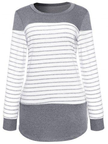 New Long Sleeve Striped Panel T-shirt