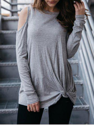 Online Cold Shoulder Jewel Neck T-shirt