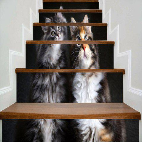 Shops Two Lovely Kittens Printed Decorative Stair Stickers