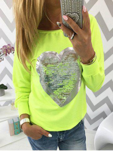Long Sleeve Sequin Heart Print T-shirt
