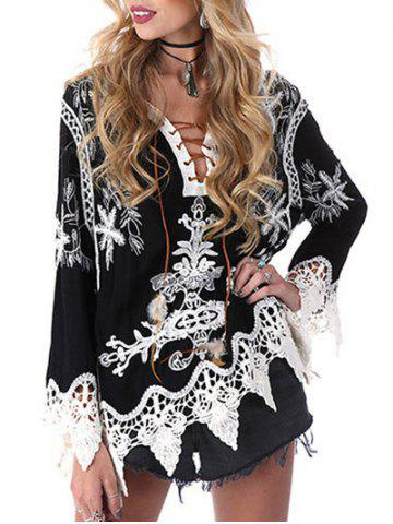 Fancy Lace Up Printed Shirt