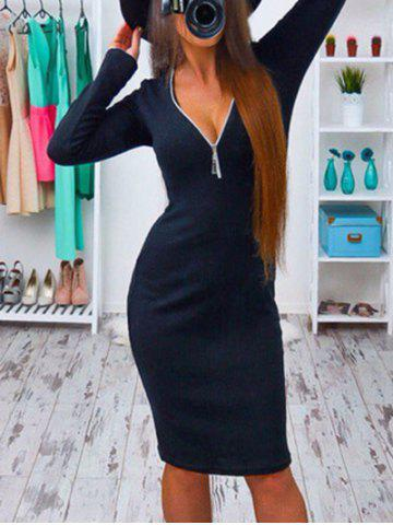 Unique Low Cut Long Sleeve Bodycon Dress