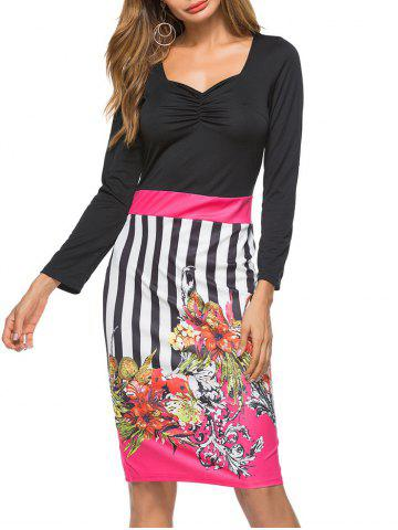 Cheap Sweetheart Neck Floral Embellished Bodycon Dress
