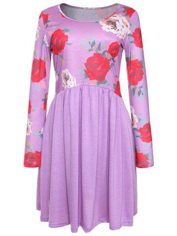 Outfit Rose Print Long Sleeve A Line Dress