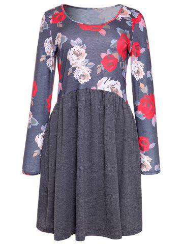Shop Rose Print Long Sleeve A Line Dress