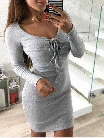 Hot Lace-up Mini Bodycon Club Dress