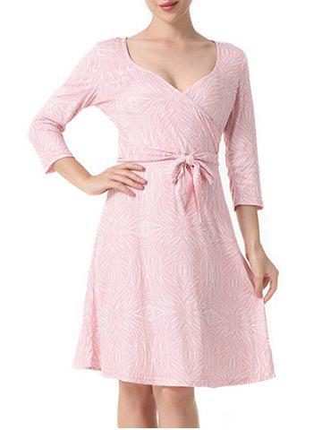 Chic Surplice Printed A Line Dress