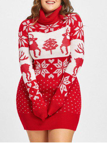 Discount Christmas Snowflake Elk Jacquard Plus Size Sweater