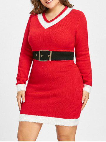 Affordable Christmas Plus Size Faux Belt Jacquard Sweater