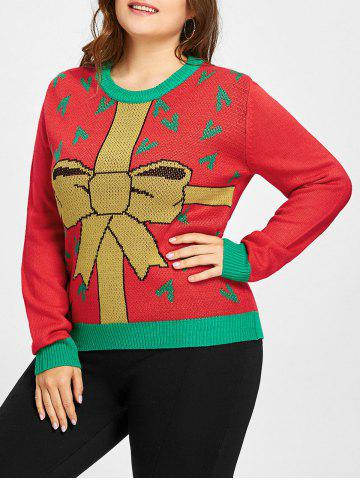 Affordable Plus Size Christmas Gift Bowknot Jacquard Sweater