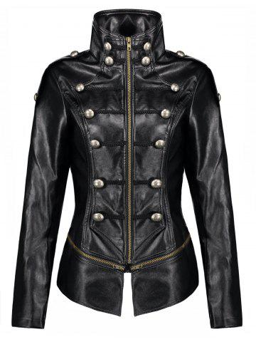 Unique Button Zipper PU Leather Punk Jacket