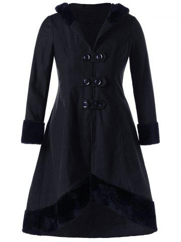 Sale Plus Size Hooded Lace Up Dip Hem Coat