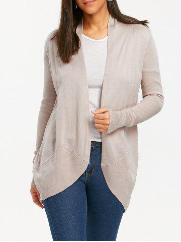 Open Front High Low Collarless Cardigan