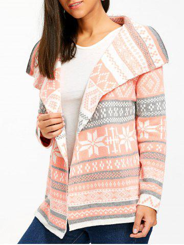 Affordable Stylish Turn-Down Collar Long Sleeve Printed Pocket Design Women's Cardigan
