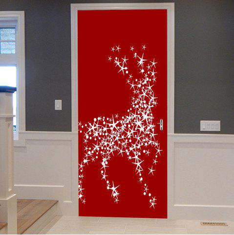 Fashion Christmas Star Deers Balls Pattern Door Cover Stickers