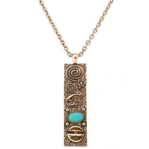 Trendy Artificial Turquoise Geometric Engraved Sweater Chain