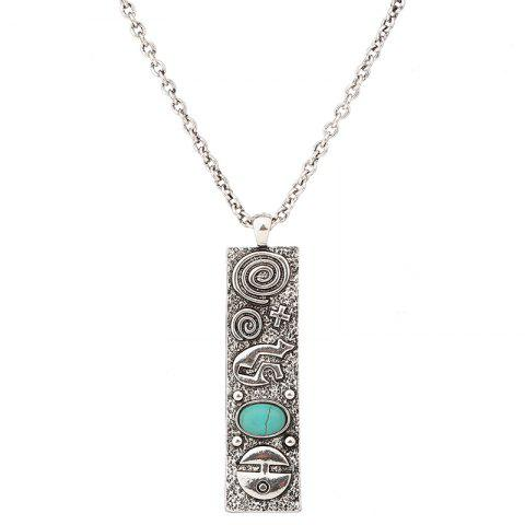 Discount Artificial Turquoise Geometric Engraved Sweater Chain