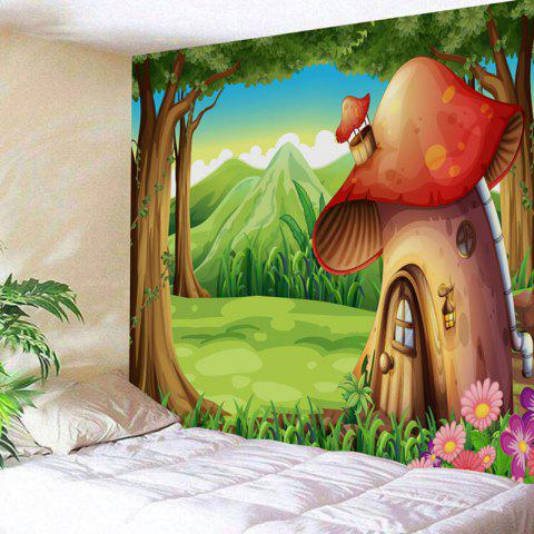 Discount Wall Art Cartoon Forest Mushroom House Print Tapestry