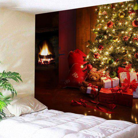 Shops Christmas Tree Fireplace Gift Print Wall Tapestry