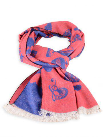 Outfits Letter Heart Pattern Winter Scarf with Fringed
