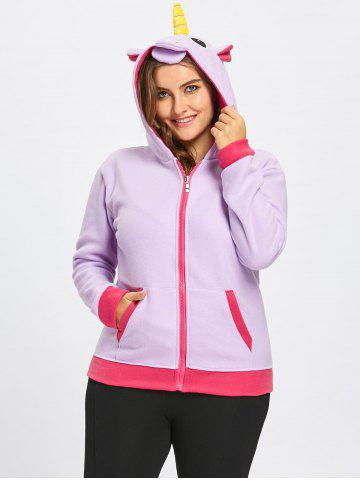 Latest Fleece Plus Size Zipper Unicorn Hoodie with Pocket