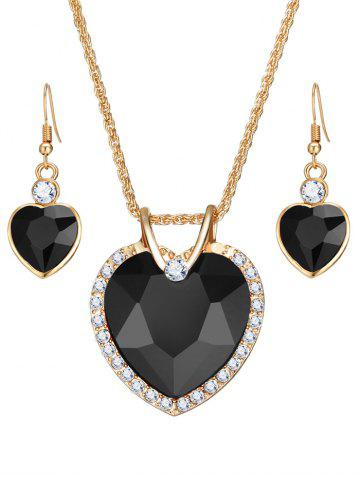 Affordable Faux Crystal Gemstone Rhinestone Heart Jewelry Set