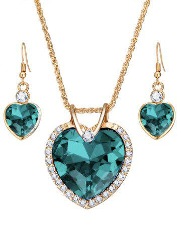 Shops Faux Crystal Gemstone Rhinestone Heart Jewelry Set
