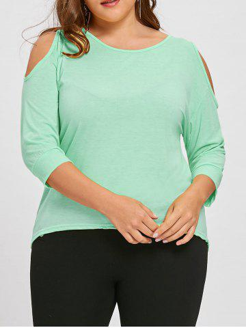 Fashion Plus Size Asymmetric Cutout Cold Shoulder  Tunic Top