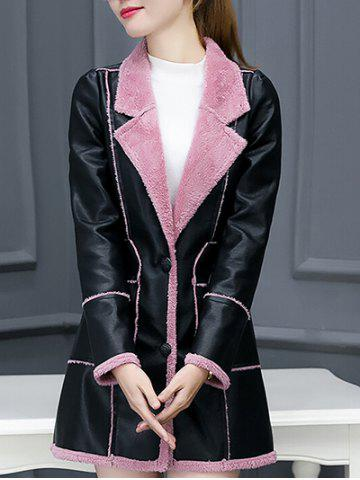 Store Lapel Collar Faux Leather Coat