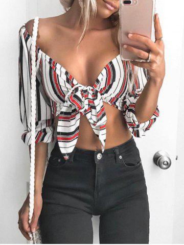 New Striped Off Shoulder Tied Crop Top